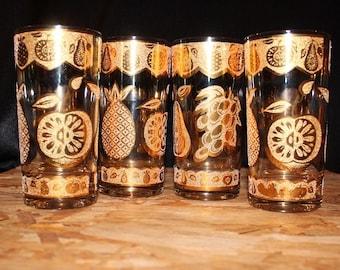 Culver-Signed Mid-Century 22K Gold Embossed Florentine Highball Cocktail Glasses, Set of 4