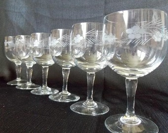 Vintage Etched Wedding Cordial Glasses, Set of 6