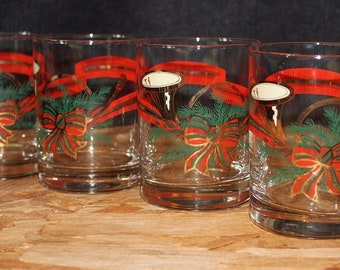 Georges Briard-Signed Mid-Century The Hunt Yule Horn Double Old Fashioned Cocktail Glasses, Set of 4