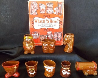 "Vintage ""What'll Ya Have?"" Ornamental  Shot Glasses,  8 Piece Set"