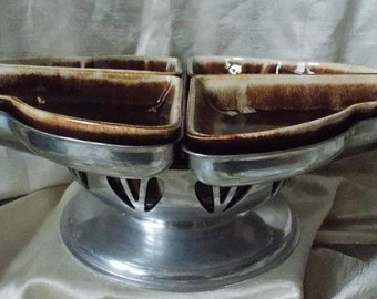 Mid-Century Frankoma-Style Brown Drip Expandable Lazy Susan Serving Bowl and Trays
