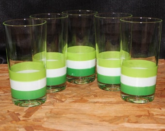 Georges Briard-Signed Mid-Century  Green Striped Highball Cocktail Glasses, Set of 5