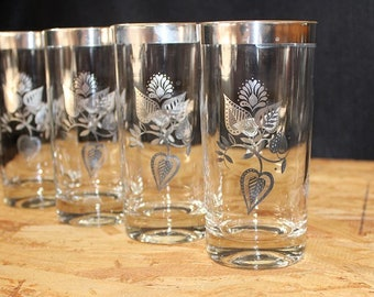 Georges Briard-Signed Mid-Century  Silver Leaf Highball Cocktail Glasses, Set of 4