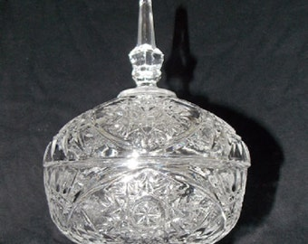 Vintage  Footed Glass Covered Candy Bowl