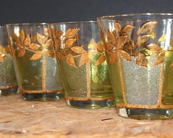 Culver-Signed Mid-Century 22k Gold and Green Vine & Leaf Whiskey Glasses, Set of 4
