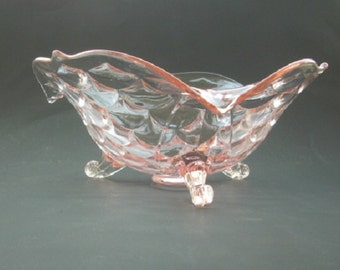 Lancaster Glass  Fish Scale Pink Candy  Bowl