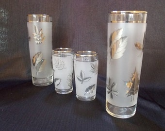 Libbey Mid-Century Silver Leaf Tumbler Glass Set, Set of 4