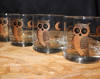 Couroc-Signed Mid-Century 22K Gold Owl Old Fashioned Cocktail Glasses, Set of 4