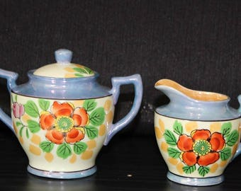 Vintage Japanese Floral Creamer and Sugar Bowl Set