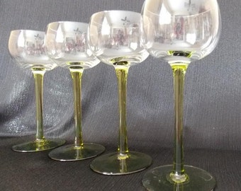 Mid-Century Stemmed Liqueur Glasses, Set of 4