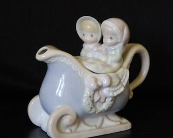 Vintage Precious Moments Sleigh Ride  Teapot