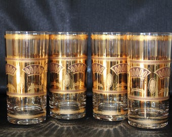 Culver-Signed Mid-Century 22K Gold Festival  Flat Tumbler Cocktail Glasses, Set of 4