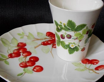 Vintage China Strawberry and Cherry Luncheon Plate and Tumbler Set