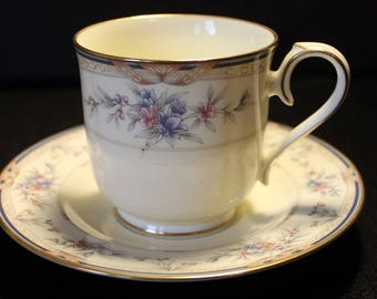 Vintage Noritake Lylewood Footed Cup and Saucer Set