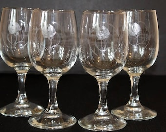 Vintage Etched Rose Wine Glasses, Set of 4