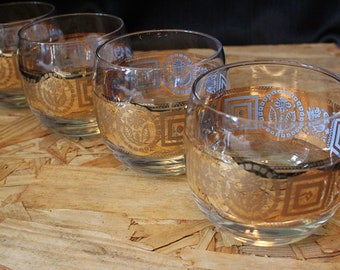 Culver-Signed Mid-Century Coronet Roly Poly Glasses, Set of Four