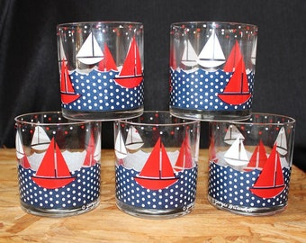 Georges Briard-Signed Mid-Century Americana Sailboat Old Fashioned Glasses, Set of Five