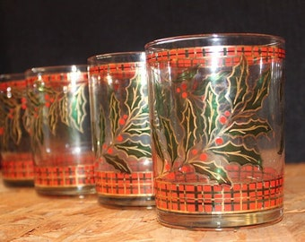 Culver-Signed Mid-Century Holly Plaid Double Old Fashioned Christmas Glasses, Set of 4
