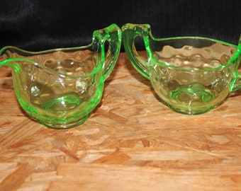 Cambridge Glass Art Deco Green Creamer and Sugar Bowl Set, Two Piece Set