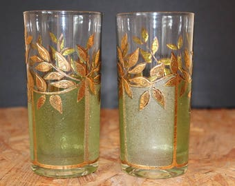 Culver Vine and Leaf Highball Cocktail  Glasses, Pair