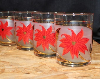 Culver Frosted Glass Christmas Poinsettias Old Fashioned  Glasses, Set of Four