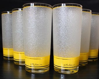 Culver Frosted Highball Cocktail Glasses ,Set of 6
