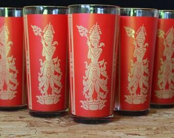 Vintage Siam Dancers Red Highball Cocktail  Glasses, Set of 5