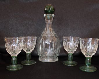 Avon Green Decanter Set, 6 Piece Set
