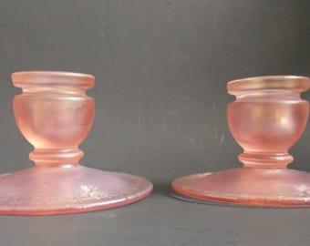 Fenton Crystal Velva Rose  Candle Holders, Pair