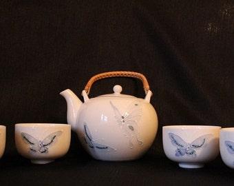 Vintage Porcelain Butterfly Tea Set, 5 Piece Set