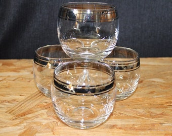 Mid-Century Silver Rimmed 6-Ounce Roly Poly Cocktail Glasses, Set of Four