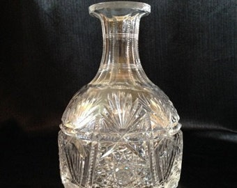 American Brilliant Cut Glass Water or Decanter Bottle