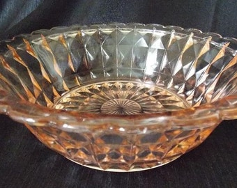 Jeannette  Glass Windsor Diamond Pink Serving  Salad Bowl