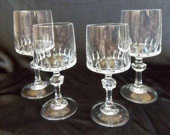 Vintage Princess House Crystal Water & Wine Glass Set, 4 Piece Set