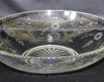 Vintage Large Glass Wedding Serving Bowl