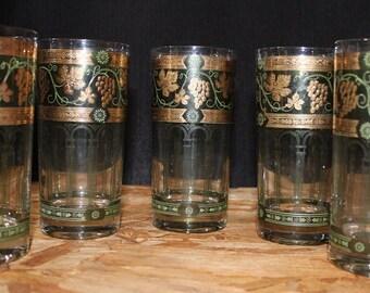 Vintage Cera Golden Grape Green Highball Glasses, Set of Five