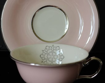 International China Candleite Pink  Footed Cup and Saucer