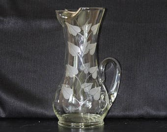 Mid-Century  Etched Glass Water Pitcher