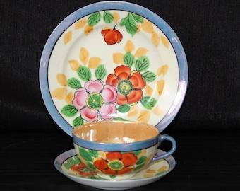 Vintage Japanese Floral Teacup and Saucer Trio