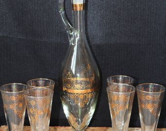Vintage Italian Muran Glass Decanter Set, 8 Piece Set