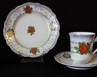 Vintage Bavaria Demitasse Tea Cup Set, 3 Piece Set