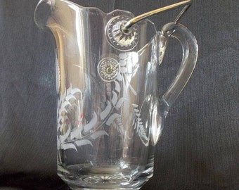 Victorian Bail Handle Etched Water Pitcher