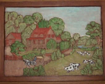 Vintage Hershey Molds Summer Scene Ceramic Wall Plaque