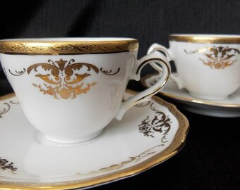 Bavaria Tirschenreuth Demitasse Porcelain Teacup and Saucer Set, 4 Piece Set