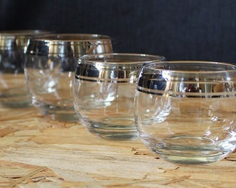 Mid-Century Silver Rimmed Roly Poly Cocktail Glasses, Set of Four