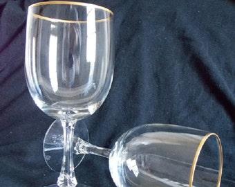 Fostoria Aurora Wine Goblets, Pair