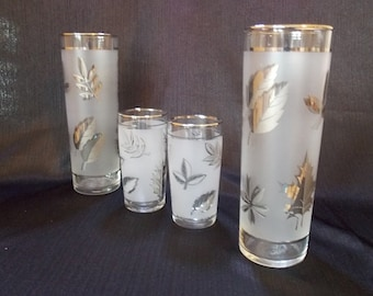 Libbey Silver Leaf Tumbler Glass Set, Set of 4