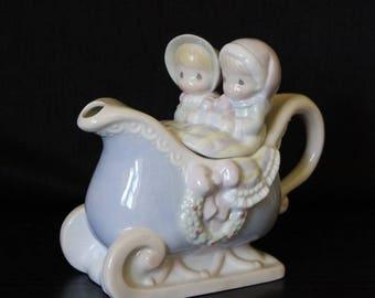 Vintage Precious Moments Sleigh Ride  Teapot