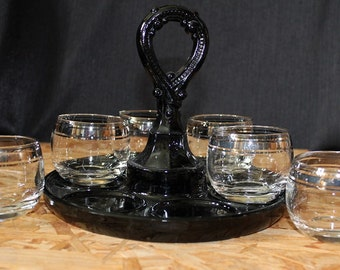 Mid-Century Silver Band Roly Poly Cocktail Glass and Caddy Set, Seven Piece Set