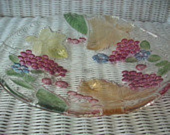 Vintage Reverse Painted Glass Fruit  Plate